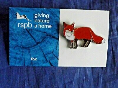 RSPB Giving Nature a Home fox metal pin badge on Blue FR Card