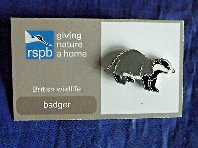 RSPB Giving Nature a Home badger metal pin badge on FR Card