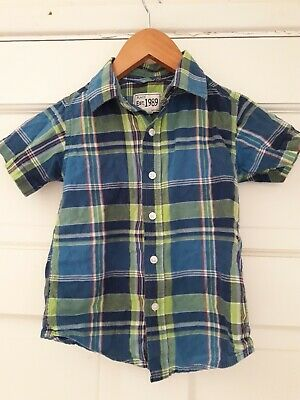 Childrens Place Boys Plaid Short Sleeve Shirt 3T Blue Yellow Red White Collared