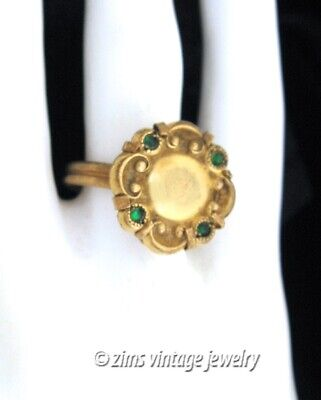 Antique VICTORIAN Gold plated brass FLORAL emerald Green crystal RING size 6.5