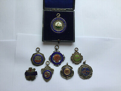 Antique Sterling Silver & Enamel Sporting  Watch Fobs No Reserve