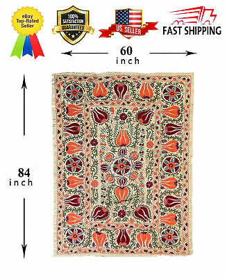 Handmade Silk Beautiful Vintage  Embroidery Uzbek Wall Hanging Large Suzani