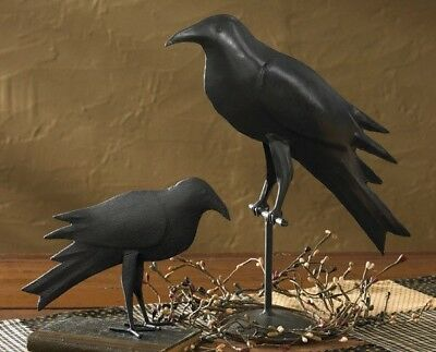 """NEW!! Primitive Country Rustic Hand Forged Black Iron Farmhouse Perched 13"""" Crow"""