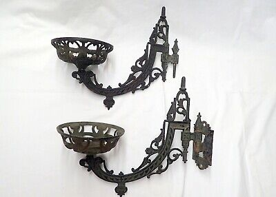 Pair Of Antique Ornate Cast Iron  Oil Lamp Holders With  1 Wall  Bracket