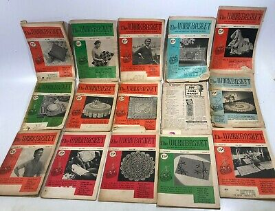 Lot of 117 Vtg WORKBASKET The Work Basket Crochet Fashion Needlecraft Magazines