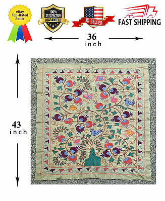Uzbek Vintage Original Wall Hanging Medium Embroidery Handmade Suzani