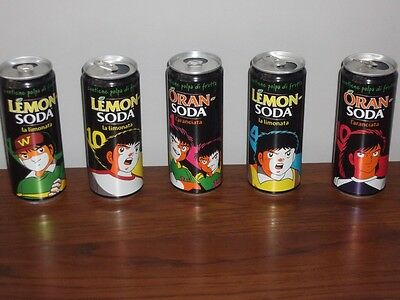 5 LATTINE ORANSODA LEMONSODA CAPTAIN TSUBASA HOLLY E BENJI CAMPEONES Limited Ed