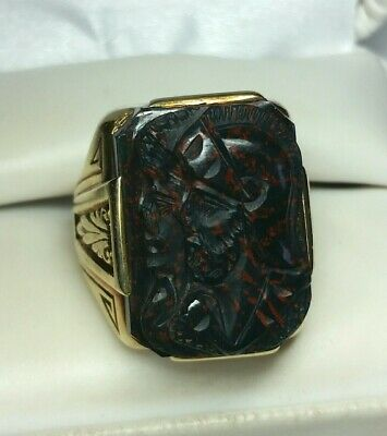 STUNNING ANTIQUE ART DECO 14K CARVED BLOODSTONE SOLDIERS RING Sz 10 HEAVY 19g