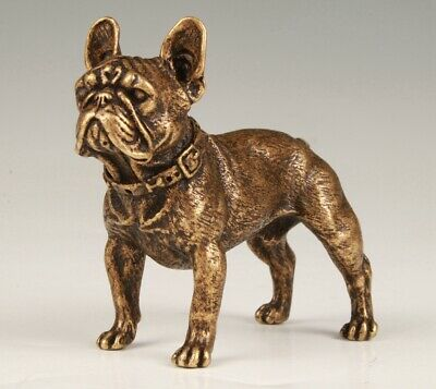 Vintage China Bronze Statue Solid Dog Mascot Home Decoration Gift