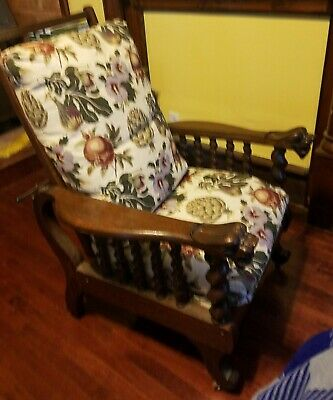 Antique oak lion head morris chair
