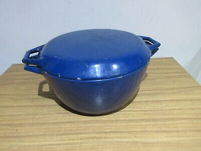 Fantastic Nacco Denmark Blue Round Cast Iron Casserole Dish With Lid Size 4.5L.
