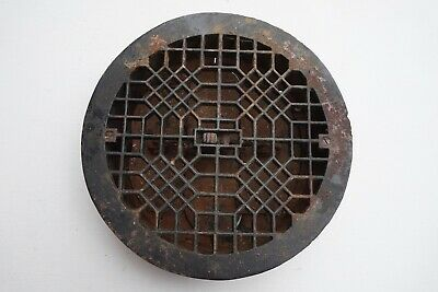 Antique Vintage Round Ornate Cast Iron Floor Vent Grate Register