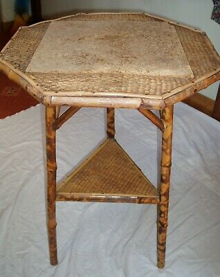 Antique Bamboo Two Tiered Octagonal table