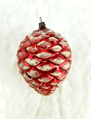 """Vintage Large Red Frosted Glass Pine Cone Christmas Tree Ornament 4"""""""
