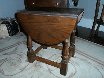 small swivel top drop leaf occasional table, dark oak priory style