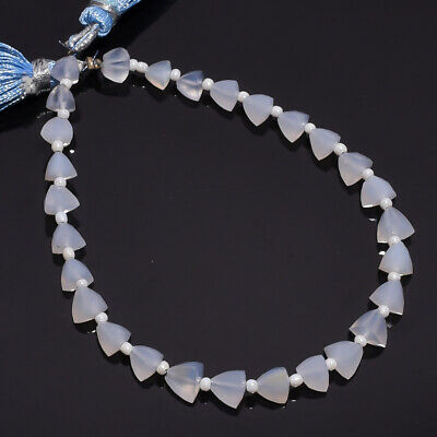 26.95 Ct. Natural Blue Chalcedony Gemstone Trillion Faceted Beads String 7""