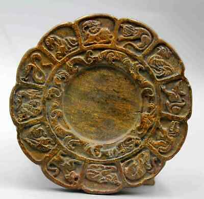 Collection China Antique Jade Carving Zodiac Moral Exorcism Inkstone Chic Statue