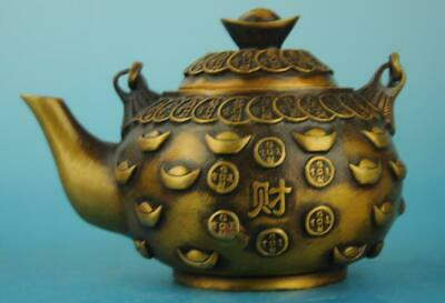 china copper Hand Made statue Sycee antique teapot /qianlong mark e01