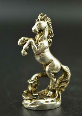 Wonderful Miao Silver Carve Robust Lifelike Horse Rare Delicate Statue a01