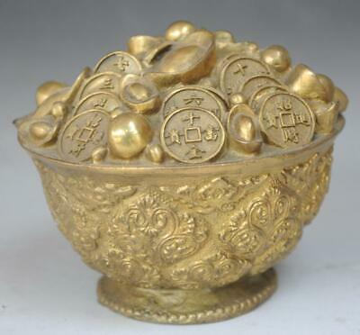 Collect Ancient Chinese Brass Copper Wealth YuanBao Money RuYi Treasure Bowl d02