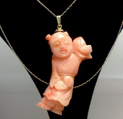 "Vintage 20"" 10K Solid Gold Necklace With Carved Coral Asian Figure Pendant  (E1)"