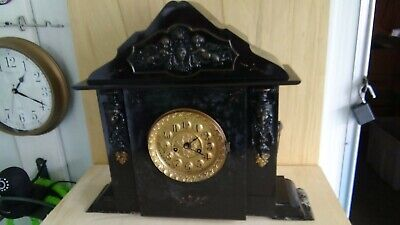 ANTIQUE c1870's ANSONIA 8 HOUR SLATE & MARBLE MANTEL CLOCK WORKS GREAT!