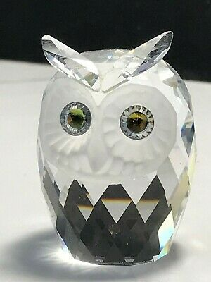 Cute Miniature Swarovski Etch Marked Crystal Glass Coloured-Eyed Owl Figure