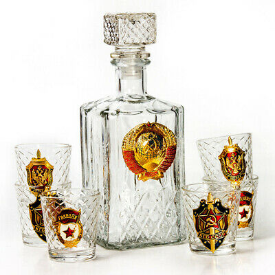 6 Shot Glasses and Glass Decanter w/ USSR Soviet Coat of Arms GIFT SET FOR MEN