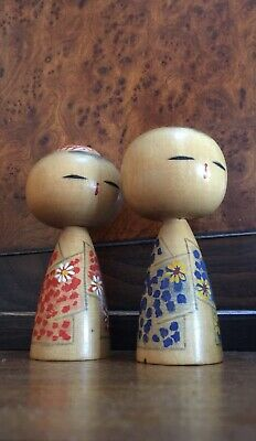 Vintage Kokeshi Dolls Lot of 2 Signed Mid Century $55 Free Post