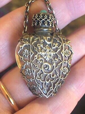 Antique Victorian Sterling Silver Perfume Heart Glass Pendant