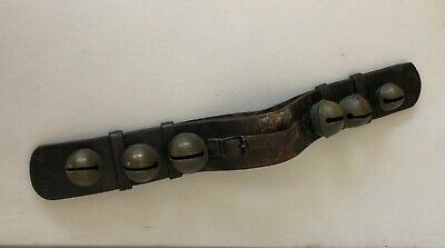 """Antique Horse Sleigh Bells ( 6 ) On  20"""" Leather Strap"""