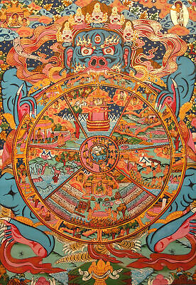 Buddha: Fine Tibetan Wooden Thangka! Wheel of Life from Nepal 20 1/2x16 1/8in
