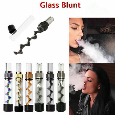 Smoking Mini Twisty Glass Blunt Metal Tip With Cleaning Brush Tool US Shipping