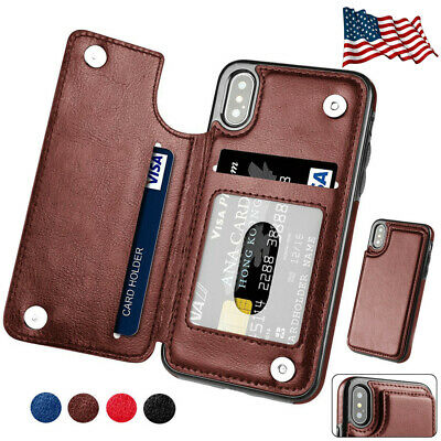 For Apple iPhone X 8 7 6S Plus XS Max Leather Flip Wallet Card Holder Case Cover