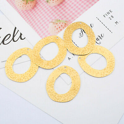 10pcs Open Round Circle Charm Pendant Raw Brass DIY Hammered Jewelry Findings