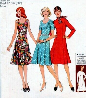 Uncut Sewing Pattern Ladies Panelled Back Zipper Dress Size 16 (dated 1976)