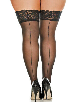 Plus Size Sheer Nylon Thigh High Stockings With Lace Top And Backseam (20101q)