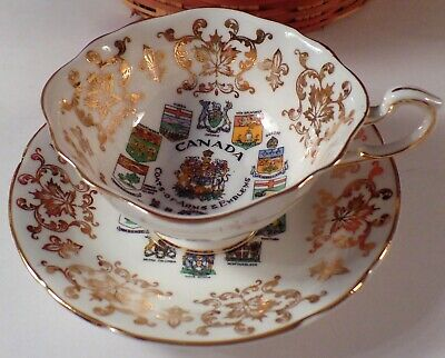 Paragon Bone-China Teacup and Saucer w/Canada's Coats-of-Arms and Emblems 1960's