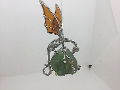 Pewter And Stained Glass Dragon Mounted On Rock