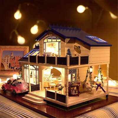 DIY Doll House Miniature Kit Toy Furniture Gift w/ LED Light Dustproof Cover