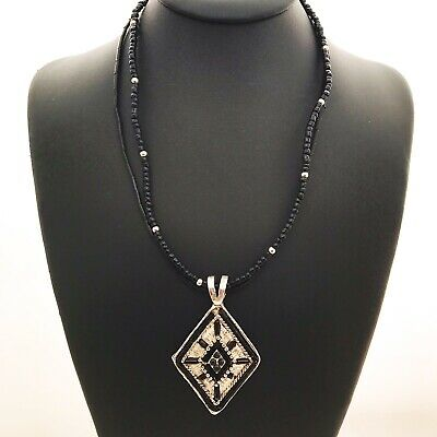 Black Glass Bead Double Strand Necklace With Diamond Shape Silver Plate Pendant