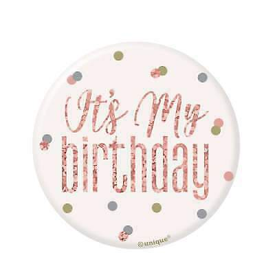 """3"""" White & Rose Gold Pin Badge - It's My  Birthday Party"""