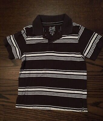 The Childrens Place short sleeved Brown & White striped polo shirt - 4T