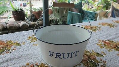 Large White Enamel Ware Fruit  Bowl / Basin with Handle Vintage French Look