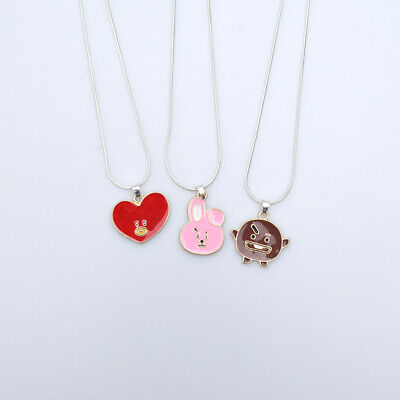 Kpop BTS BT21 Necklace TATA Mens Women Pendant Fashion Clavicle Chain Jewelry