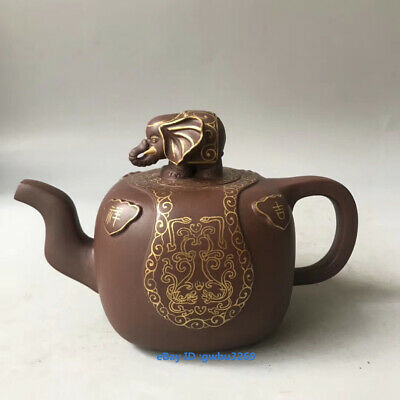 Mark China Yixing Zisha Handmade Carved 吉祥 Elephant Outline in gold Teapot 420cc