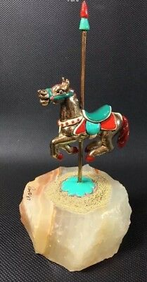 Ron Lee Signed Carousel Horse Art Figurine Brass With Marble Base 1987 RARE