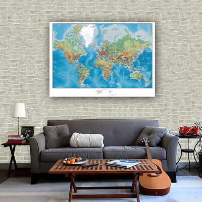 """Huge Silk Canvas Poster Globe Geography World Map Paint Wall Decor 32""""x24"""" S35"""