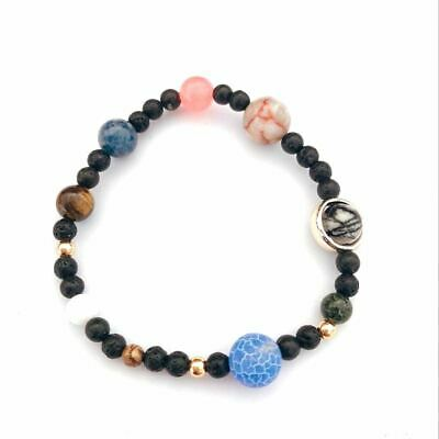Solar System 9 Planets Universe Stars Women Office Style Natural Stones Bea X6E8