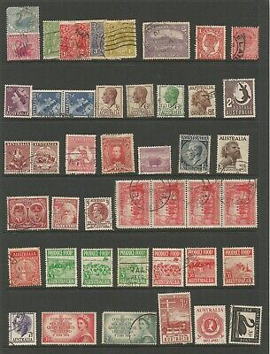 PAGE OF AUSTRALIAN PRE DECIMAL STAMPS ALL DIFFERENT USED see scans 27/35